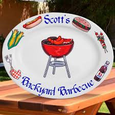 personalized serving platter ceramic personalized gifts oval bbq platter w grill design 13