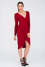 red long sleeve ruched wrap dress jane norman
