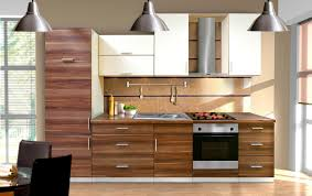 modern walnut kitchen cabinets with brown and white combined color