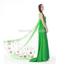 Queen Elsa Halloween Costume Aliexpress Buy Women Snow Queen Elsa Green Dress