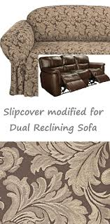 Sure Fit Dual Reclining Sofa Slipcover Reclining Sofa Slipcover Damask Chocolate Brown Sure Fit