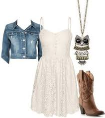 white dress w cowgirl boots and jean jacket