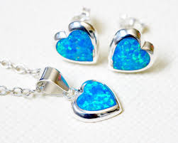 opal earrings necklace images Jewelry set blue opal earrings opal necklace gemstone earrings jpg