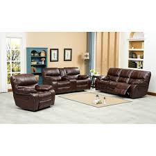 Roundhill Furniture Ewa  Piece Reclining Leather Living Room Set - Three piece living room set