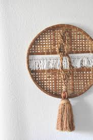 Wicker Paper Plate Holders Wholesale Large Bohemian Fringe Woven Rattan Wall Basket Art Tassels