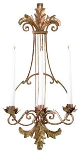 Joselyn Candle Wall Sconce Ornate Gold Lyre Harp Candle Sconce Wall Holder Antique
