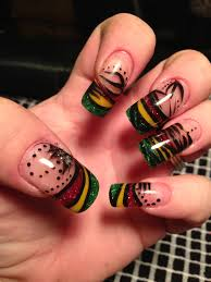 french nail art reggae inspired nails reggae nail art cocodollbum