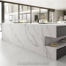 Calacatta White Marble Look Quartz Stone Solid Surfaces High Gloss - Quartz backsplash