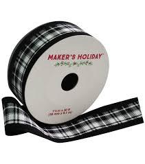 and black plaid ribbon white black plaid ribbon by maker s 1 5 x 30 joann
