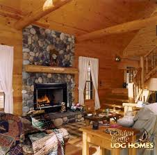 golden eagle log and timber homes log home cabin pictures great room view 2