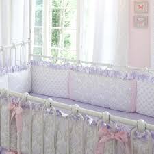 Girly Crib Bedding Lilac And Silver Gray Damask Crib Bedding Baby Crib Bedding