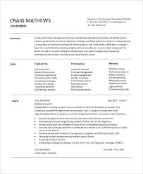 Civil Engineer Resume Examples by Free Engineering Resume Templates 49 Free Word Pdf Documents
