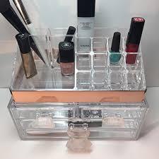 Makeup Organizer Desk by Makeup Organizer Rose Gold Lucite Vanity Organizer Crystal