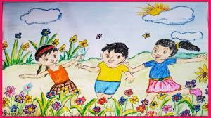 how to draw scenery of flower garden children playing in flower