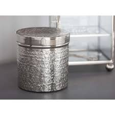 classic elegance cylindrical canisters in polsihed hammered silver