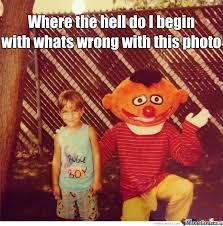Ernie Meme - ernie with wood bugle boy creep smile damn too much to name by