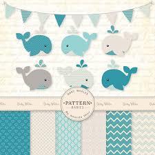 whale baby shower premium blue baby whales clip digital paper set whale