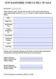 printable vehicle bill of sale free new hampshire car vehicle bill of sale form pdf word doc