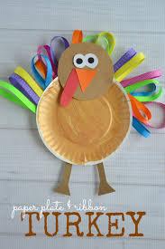 paper plate u0026 ribbon turkey kid craft thanksgiving holiday
