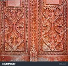 wood carving decorated windows temple tells stock photo 77064796