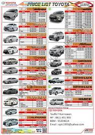 toyota yaris list price price list toyota price list update