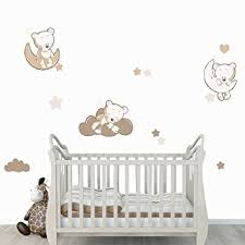 stickers nounours chambre bébé stickers teddy moon beige trio teddy l ourson sur la lune