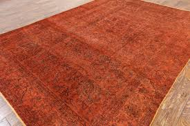 wool rug traditional vintage orange overdyed 8x12 hand knotted oriental