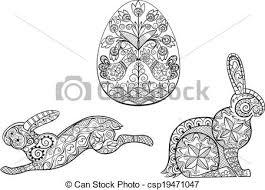 eps vector of coloring pages symbols of easter egg hare rabbit