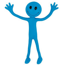blue bendy smiley man party bag toy