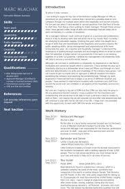 Restaurant Experience Resume Sample by Restaurant Manager Resume Samples Visualcv Resume Samples Database