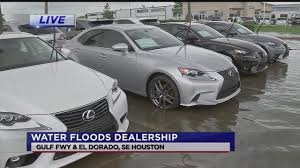 lexus dealership baton rouge dozens of new cars damaged by floodwaters in clear lake abc13 com