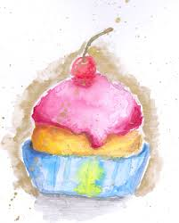cupcake drawing watercolour archives christabelle art and things