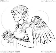 clipart of a black and white line drawing of the virgo virgin