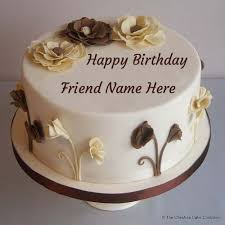 happy birthday flower cream cake pics with best friend name