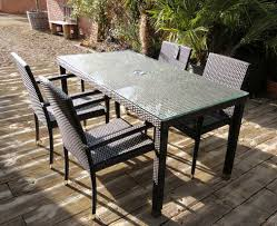 Rattan Patio Table Garden Furniture Panama Rattan 4 Seater Rectangular Table Set 2016