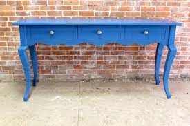 Blue Console Table Blue Console Table With Scalloped Apron Ecustomfinishes