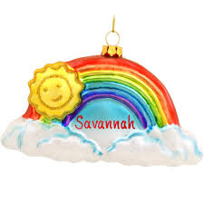 personalized rainbow with smiling sun glass ornament exclusive