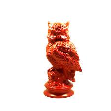 owl sculpture bohemian vintage owl statue fire orange home