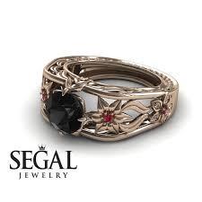 pink and black engagement rings designer engagement ring 14k gold 2 carat cut black