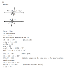 rs aggarwal solutions for class 7th maths properties of parallel