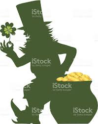 silhouette of a leprechaun on st patricks day stock vector art