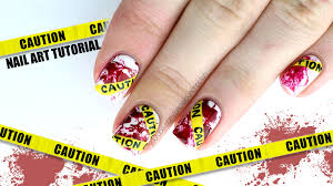 caution tape with blood splatter halloween nail art tutorial youtube