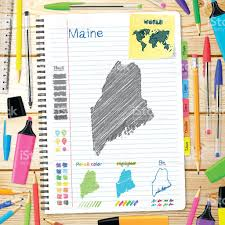 Maine Maps Maine Maps Hand Drawn On Notebook Wooden Background Stock Vector