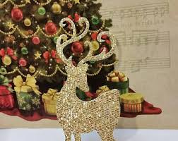 Gold Christmas Reindeer Decorations by Gold Reindeer Etsy