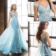 light blue formal dresses light sky blue appliques formal evening dresses with overskirt train