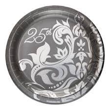 25th anniversary plates 25th anniversary tableware silver anniversary plates napkins