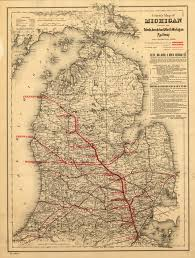 Maps Of Michigan 24x36 Vintage Reproduction Toledo Ann Arbor Michigan Rail Map 1886