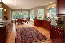 Kitchen Cherry Cabinets Large Open Kitchen Design With Red Cherry Cabinets And A Persian
