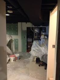 Black Ceiling Basement by This Exposed Basement Ceiling Was Spray Painted Black Due To The