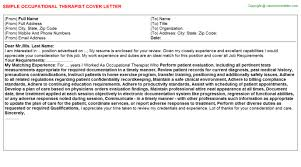 based occupational therapist cover letters